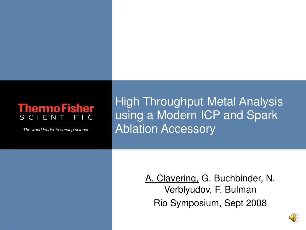 high throughput metal analysis using a modern icp and spark ablation accessory l.