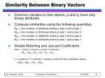 similarity between binary vectors