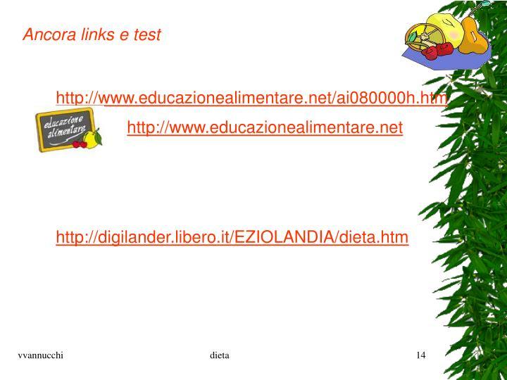 Ancora links e test