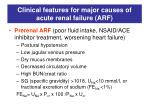 clinical features for major causes of acute renal failure arf