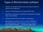 types of bioinformatics software