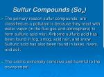 sulfur compounds so x