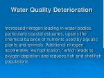 water quality deterioration