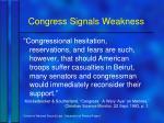 congress signals weakness