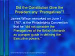 did the constitution give the president any prerogatives