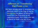 jefferson on transferring war power 1789