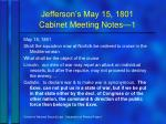 jefferson s may 15 1801 cabinet meeting notes 1