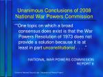 unanimous conclusions of 2008 national war powers commission