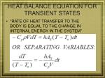 heat balance equation for transient states
