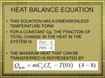 heat balance equation