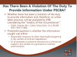 has there been a violation of the duty to provide information under pecba