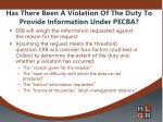 has there been a violation of the duty to provide information under pecba1