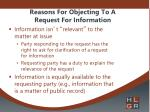 reasons for objecting to a request for information1