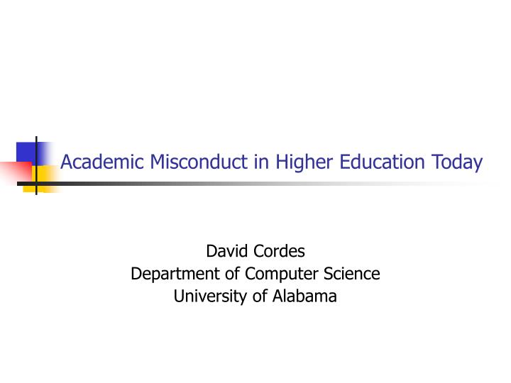 academic misconduct in higher education today n.