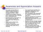 awareness and appreciation answers