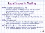 legal issues in testing