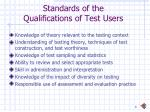 standards of the qualifications of test users