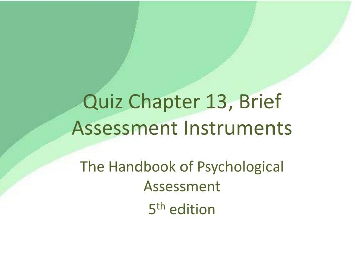 quiz chapter 13 brief assessment instruments n.