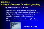 example strength of evidence for tobacco smoking
