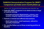 samhsa demonstration program for sbirt comparison of intake and 6 month follow up