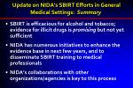 update on nida s sbirt efforts in general medical settings summary