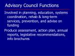 advisory council functions