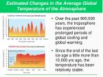 estimated changes in the average global temperature of the atmosphere