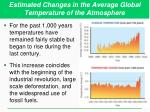 estimated changes in the average global temperature of the atmosphere1