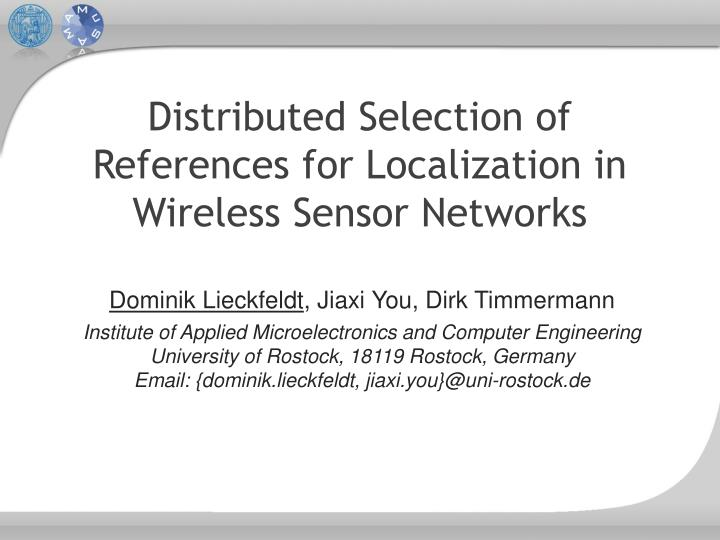 distributed selection of references for localization in wireless sensor networks n.