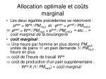 allocation optimale et co ts marginal