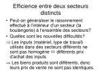efficience entre deux secteurs distincts