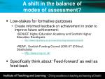 a shift in the balance of modes of assessment
