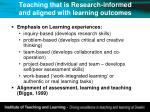 teaching that is research informed and aligned with learning outcomes