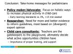 conclusion take home messages for pediatricians