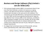 business and design software pty limited v van der velde lac