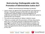 restructuring challengeable under the promotion of administrative justice act1