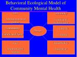 behavioral ecological model of community mental health