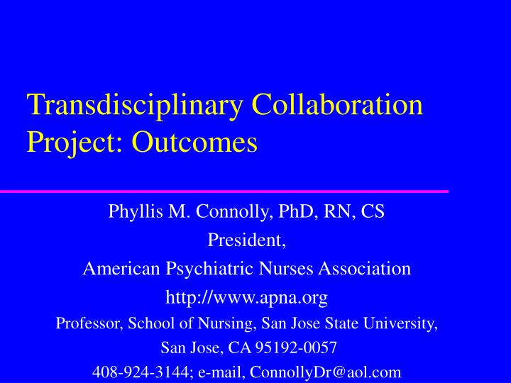 transdisciplinary collaboration project outcomes n.
