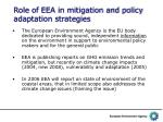 role of eea in mitigation and policy adaptation strategies