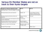 various eu member states are not on track to their kyoto targets