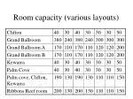 room capacity various layouts