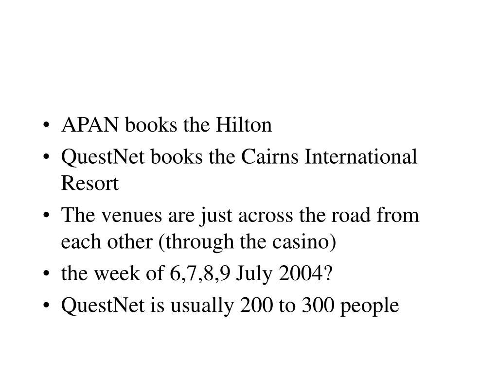 APAN books the Hilton