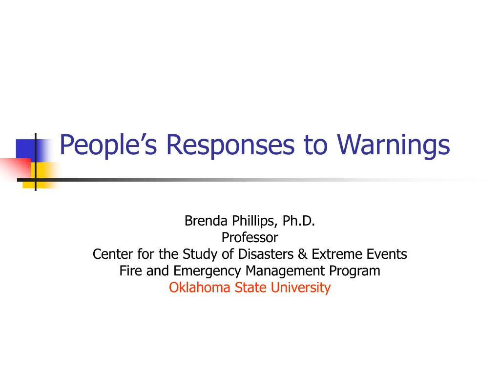 people s responses to warnings l.