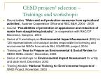 cesd projects selection trainings and workshops