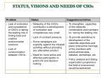 status visions and needs of csos