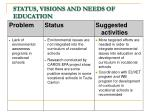 status visions and needs of education8