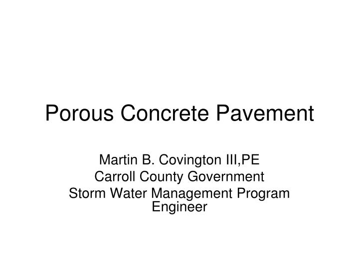 porous concrete pavement n.