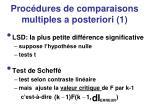 proc dures de comparaisons multiples a posteriori 1