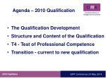 agenda 2010 qualification