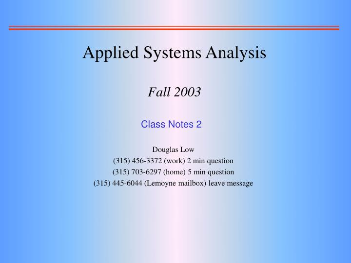 applied systems analysis fall 2003 n.